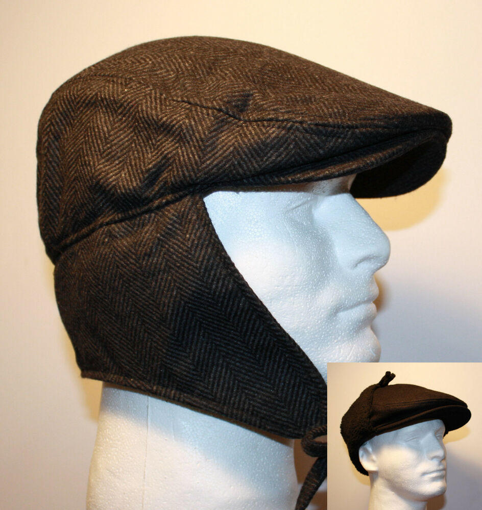 47a129bfea7e6 BLACK HERRINGBONE FLAT IVY WOOL GATSBY WINTER HAT EAR FLAP TIES URBAN  CASUAL G61