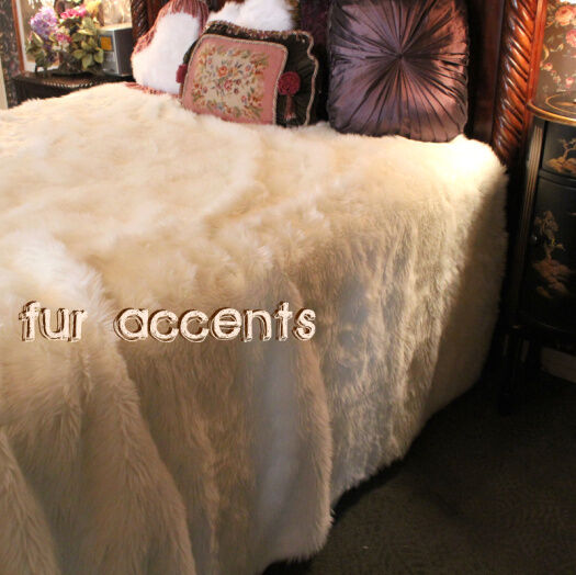 New Bedspread / White Faux Fur / Fake Sheepskin / Accent