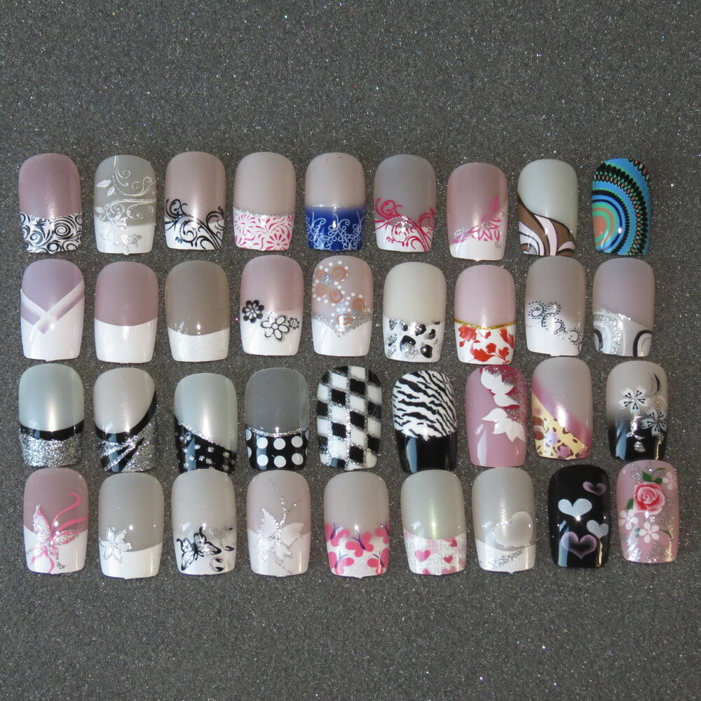 Pre Designed Full False Nails 24 Pre Design Airbrushed Nails UK SELLER - Pre Design Nail Tips EBay
