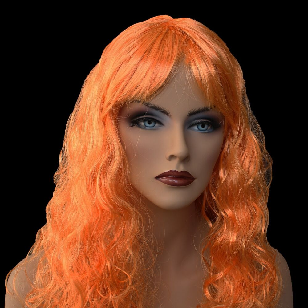 18 Quot Long Orange Synthetic Curly Wavy Hair Wig For Cosplay