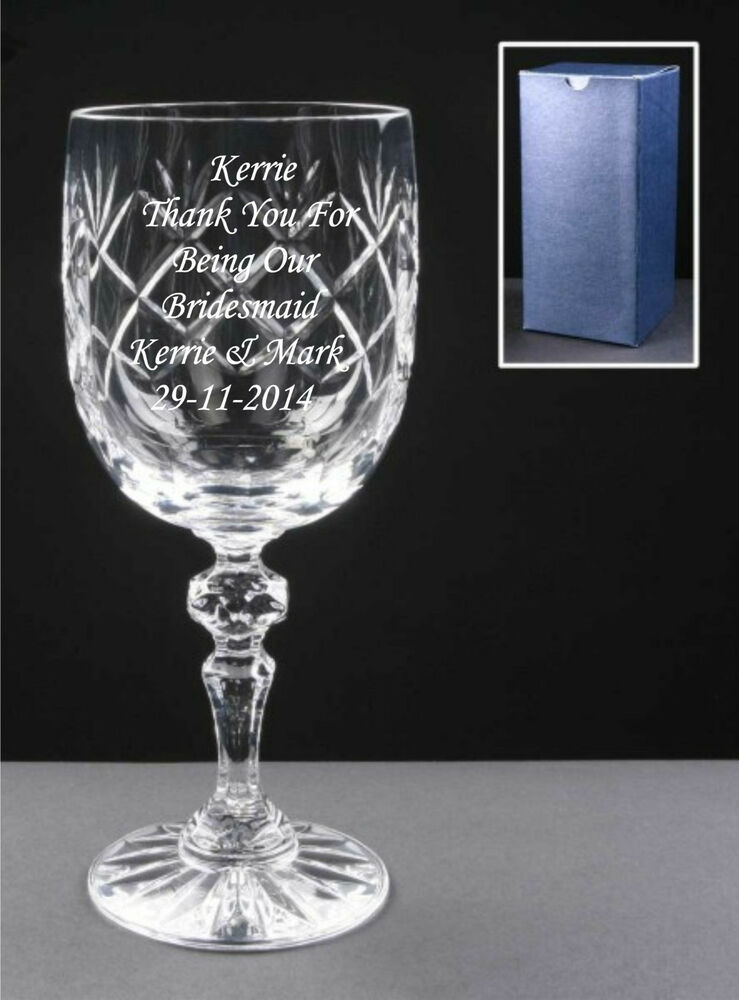 Engraved Wine Glasses For Wedding Gift : ... Engraved Crystal Wine Glass, Bridesmaid, Wedding Free Gift Box eBay