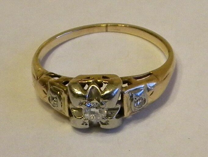 antique 10k white yellow gold diamond engagement ring ebay. Black Bedroom Furniture Sets. Home Design Ideas