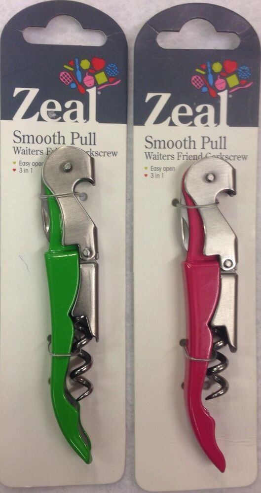 new zeal smooth pull waiters friend wine bottle opener corkscrew ebay. Black Bedroom Furniture Sets. Home Design Ideas