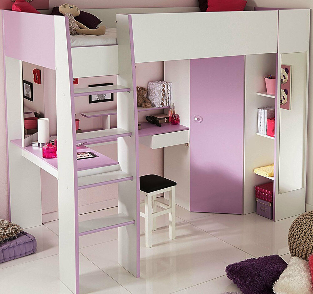 m dchen kombibett kinderbett lila weiss kleiderschrank. Black Bedroom Furniture Sets. Home Design Ideas