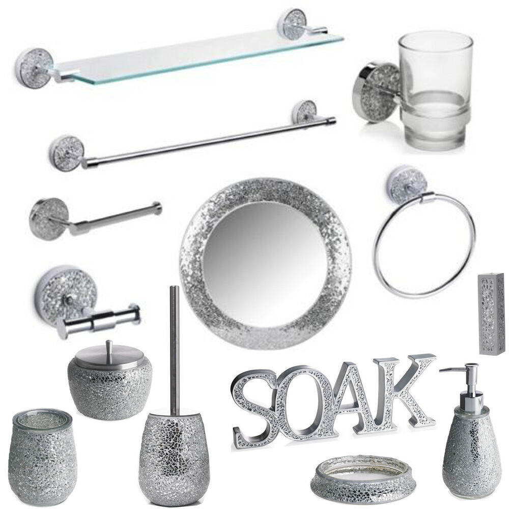 Silver sparkle bathroom accessory set silver mosaic for Gold mosaic bathroom accessories