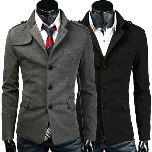 Fashion Mens Casual Slim Trench Coat Peacoat WINTER Jacket ...