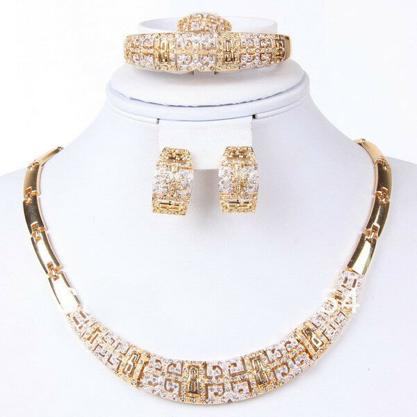 bracelet and earrings sets fashion jewelry set 18k gold plated necklace bangle 4871