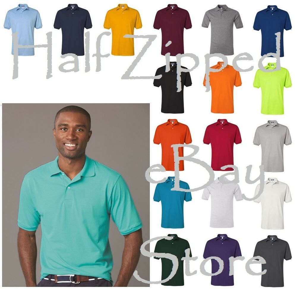 Jerzees mens spotshield 50 50 polo sport shirt 437msr s for Men s cotton polo shirts with pocket
