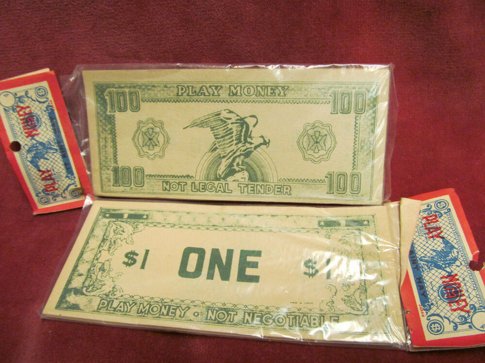 Play Money Toy : Two sealed packages vintage toy play money