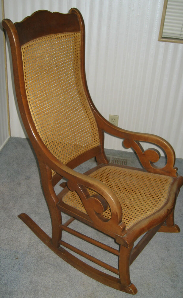 Vintage Cane Back Rattan Rocking Chair Famous Conant Ball