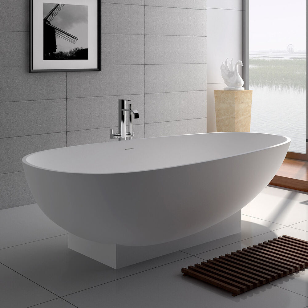 Free Standing Solid Surface Stone Resin Glossy Bathtub 71 X 35 Inch SW 109