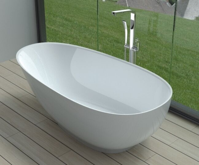 Free standing solid surface stone resin glossy bathtub 63 for Freestanding stone resin bathtubs