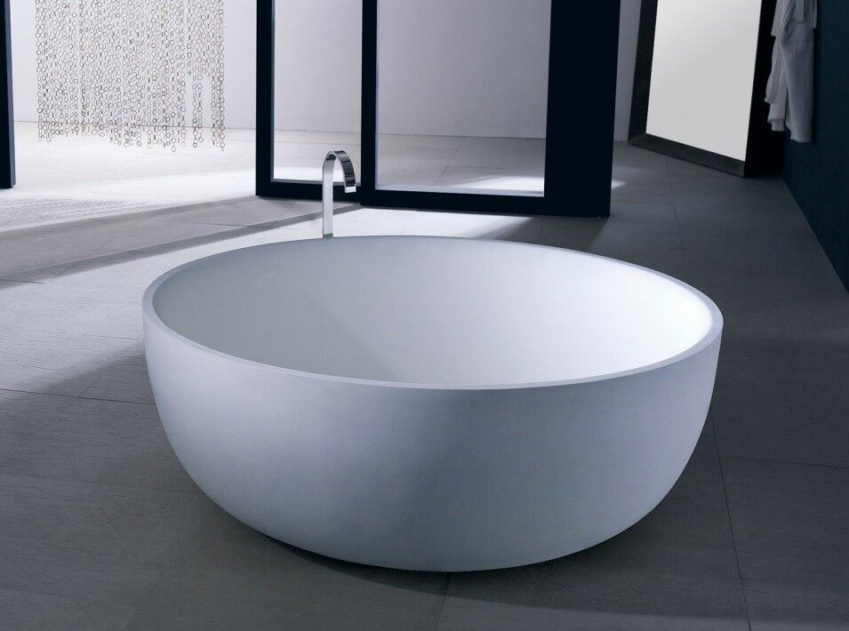 Free standing solid surface stone resin glossy bathtub 53 for Freestanding stone resin bathtubs