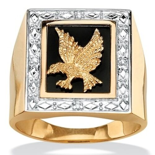 men 39 s onyx and diamond accent eagle ring in 14k gold over. Black Bedroom Furniture Sets. Home Design Ideas