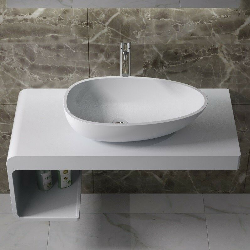 Solid Surface Bathroom Sink: Countertop Solid Surface Stone Resin Glossy Bathroom Sink