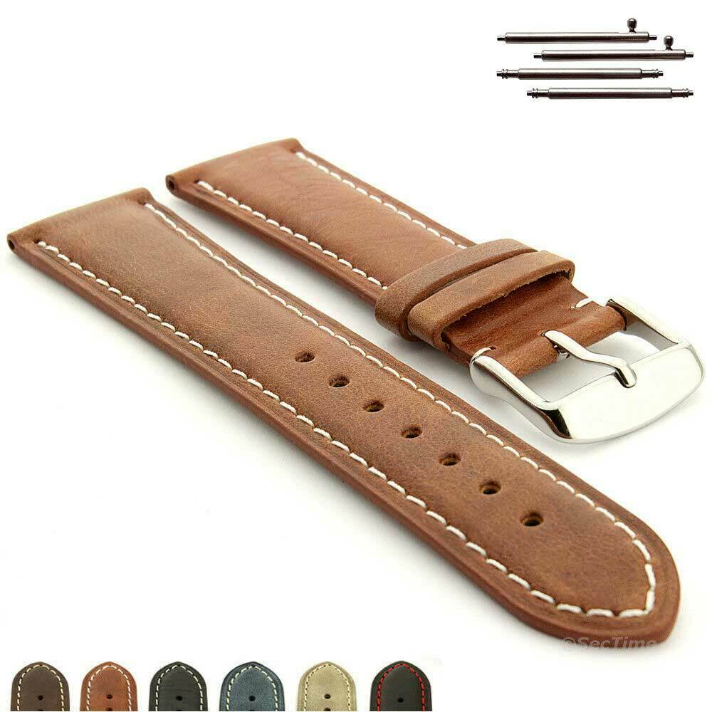 Genuine leather watch strap band twister mens stainless steel buckle ebay for Men gradient leather strap