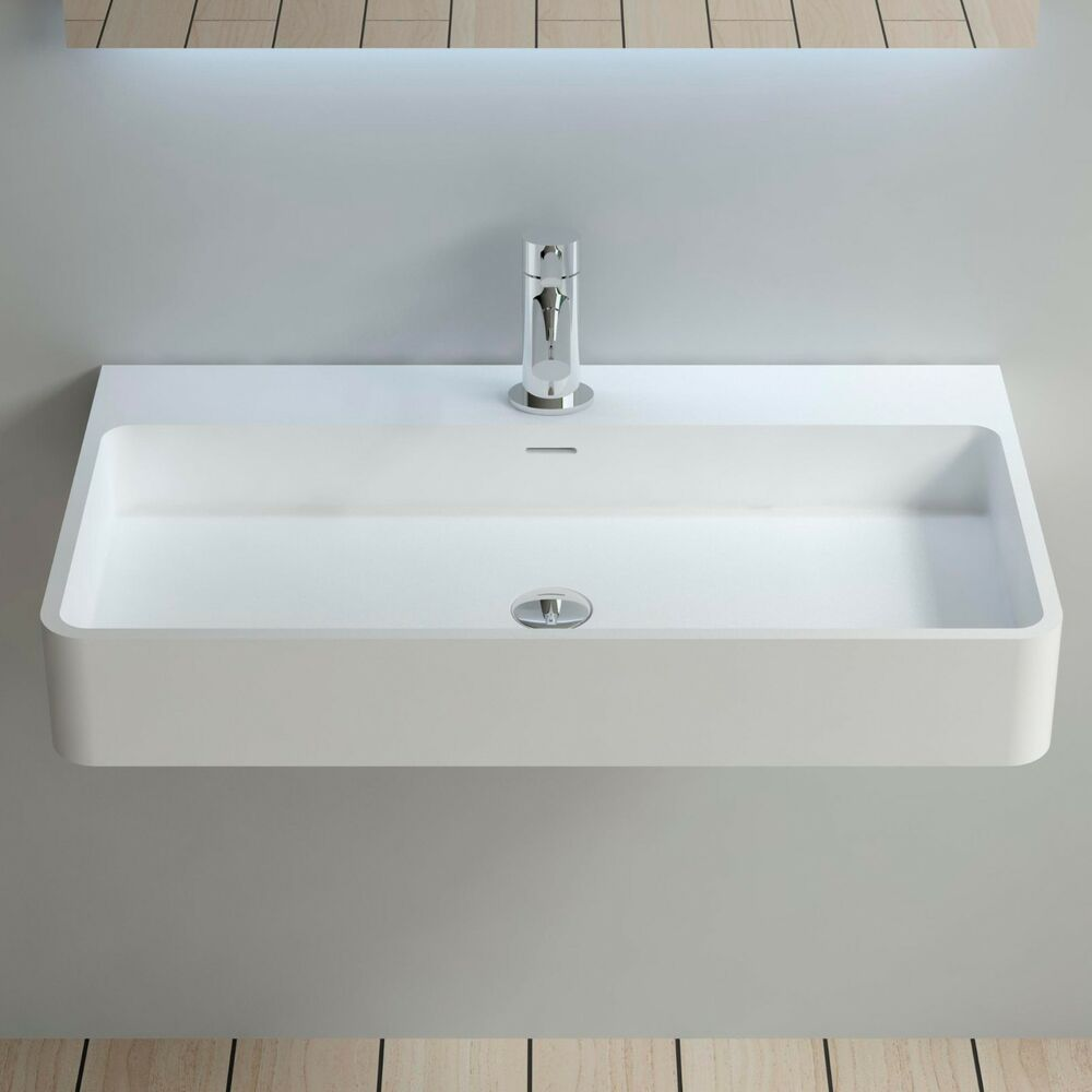 Solid Stone Sink : Wall Hung Solid Surface Stone Resin Glossy Bathroom Sink 32 x 18 - DW ...