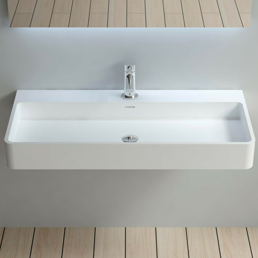 Solid Surface Bathroom Sink: Wall Hung Solid Surface Stone Resin Glossy Bathroom Sink