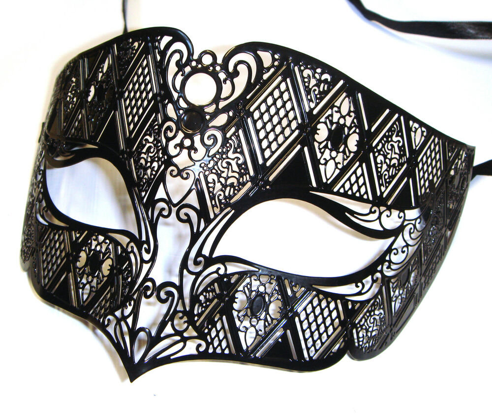 Mens smoking black venetian metal filigree masquerade for Masquerade ball masks templates