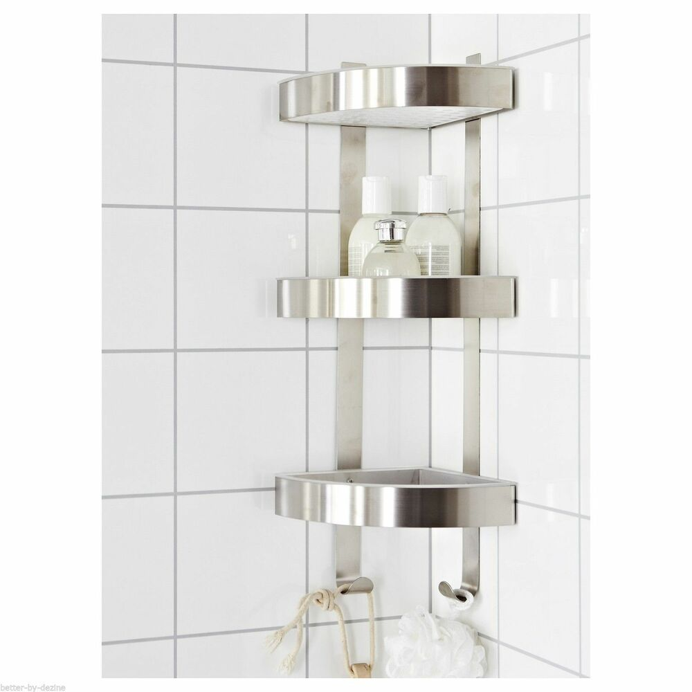 Rust resistant stainless steel 3 tier bathroom corner wall - Bathroom shelves stainless steel ...