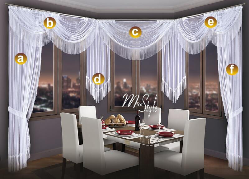 Choice of Swags Tails Net Sheer Curtain Swag Pelmet Valance Tassels ...