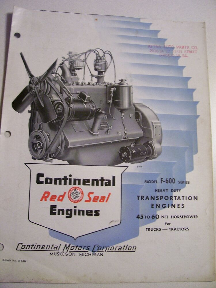 Vintage Continental Motors Advertising Brochure F 600