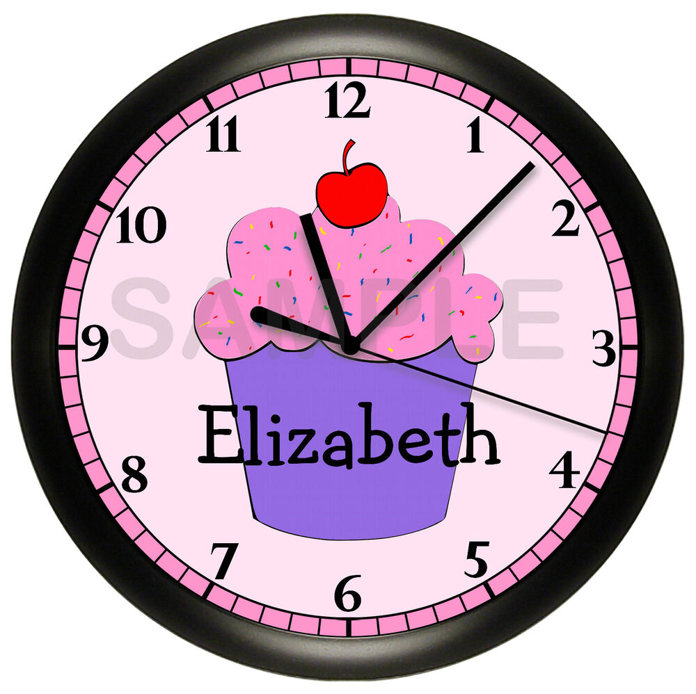 Bedroom Wall Clock Design : Cupcake wall clock bakery restaurant personalized