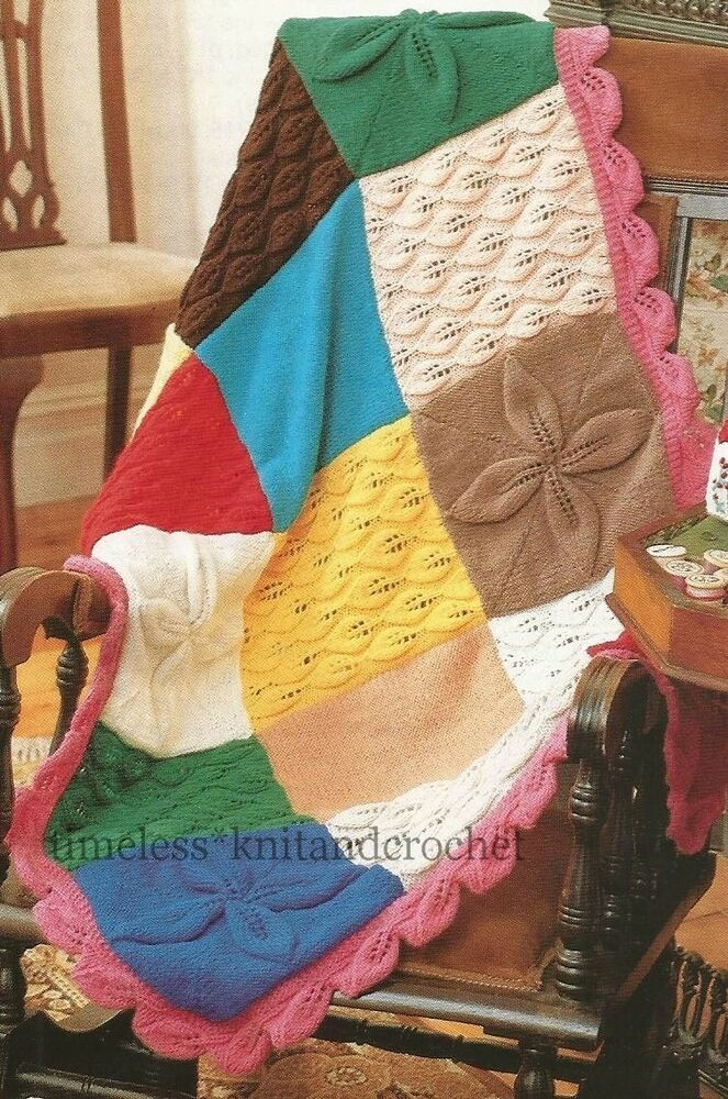 KNITTING PATTERN FOR PATCHWORK BEDSPREAD & SMALL BLANKET ...