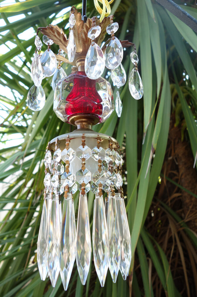 Vintage Ruby Red Pressed Glass Small Petite Brass Hanging