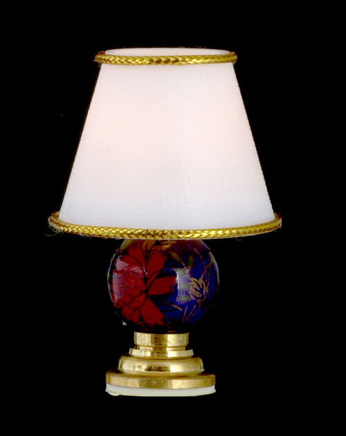 Dollhouse miniature blue floral base table lamp 12 volt for 12v table lamp
