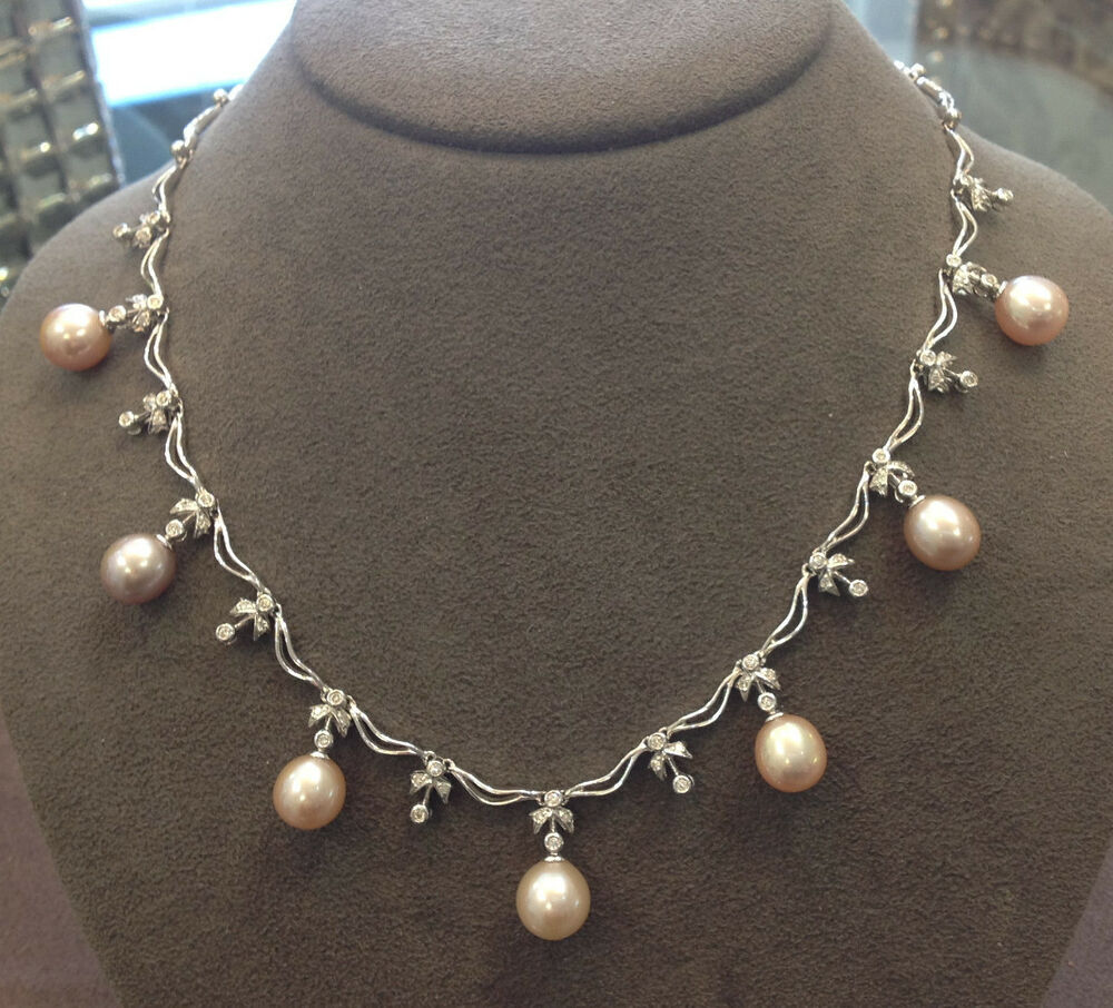 pink pearl dangle necklace with diamonds in 18k white gold