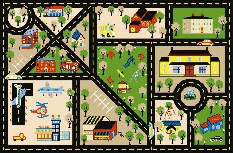 City Center Road Area Rug 5x7 For Children Great For Kids