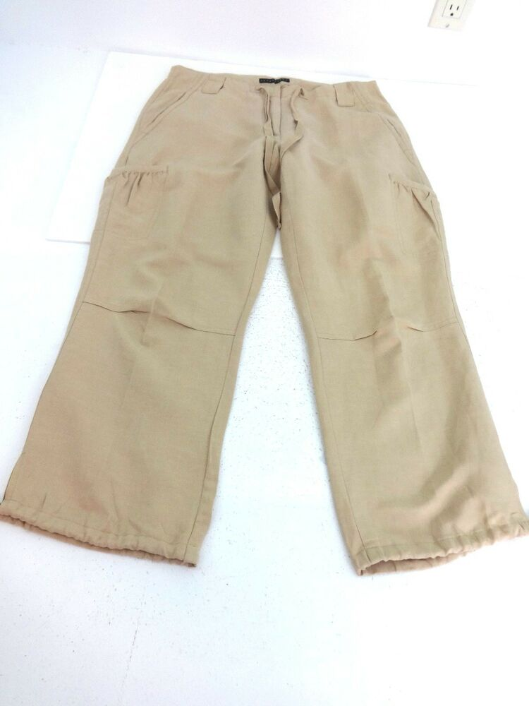 Perfect Women39s Khaki Linen Fold Over Pant Front View