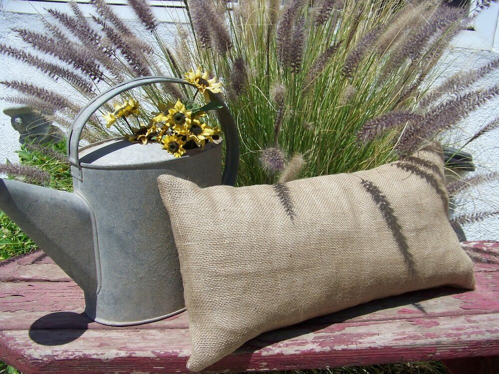 Throw Pillow Covers Farmhouse : 12x24 lumbar Burlap Pillow Throw Decorative French Country Farmhouse covers 1pc eBay