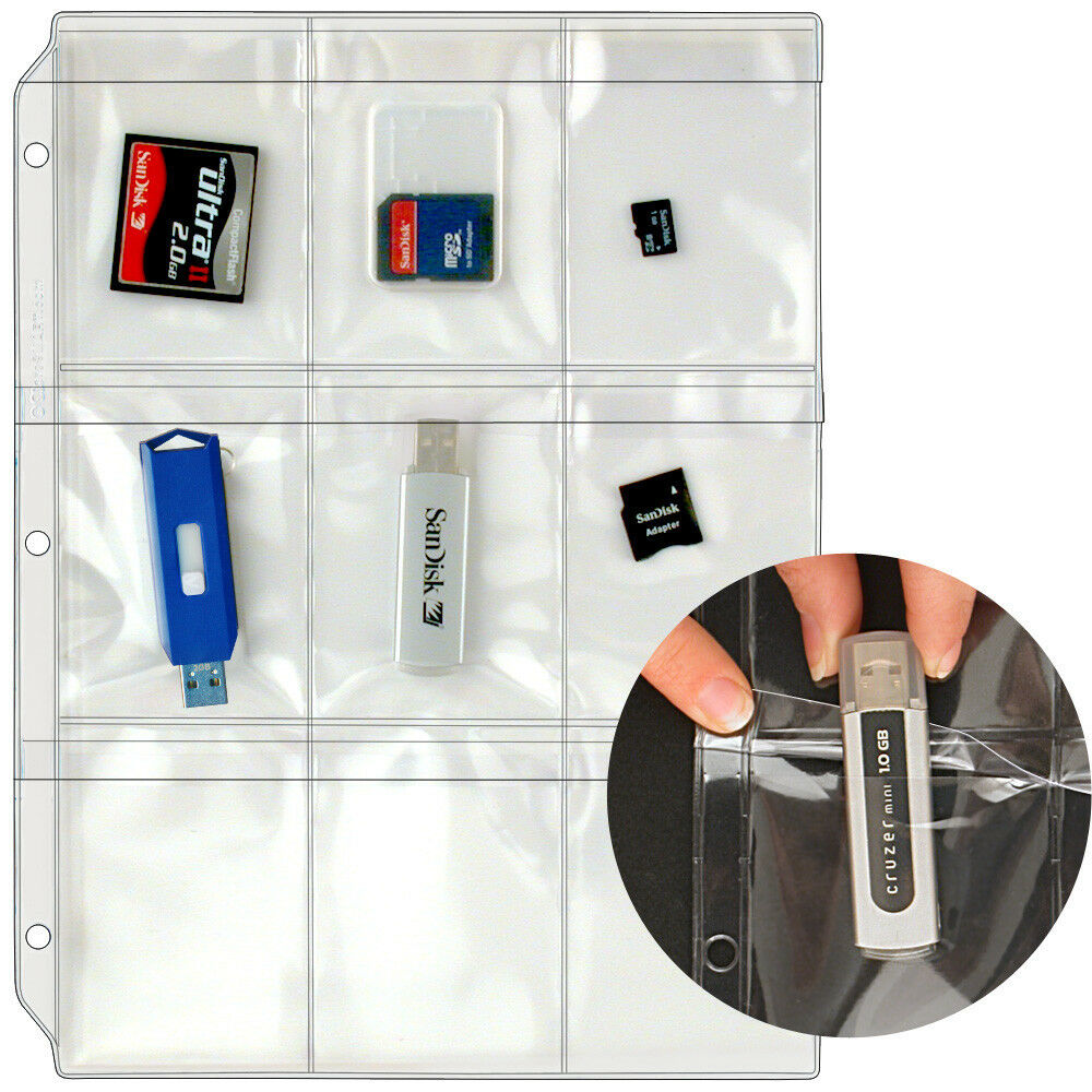 USB Flash Drive/Memory (SD) Cards Case For 3-Ring Binders