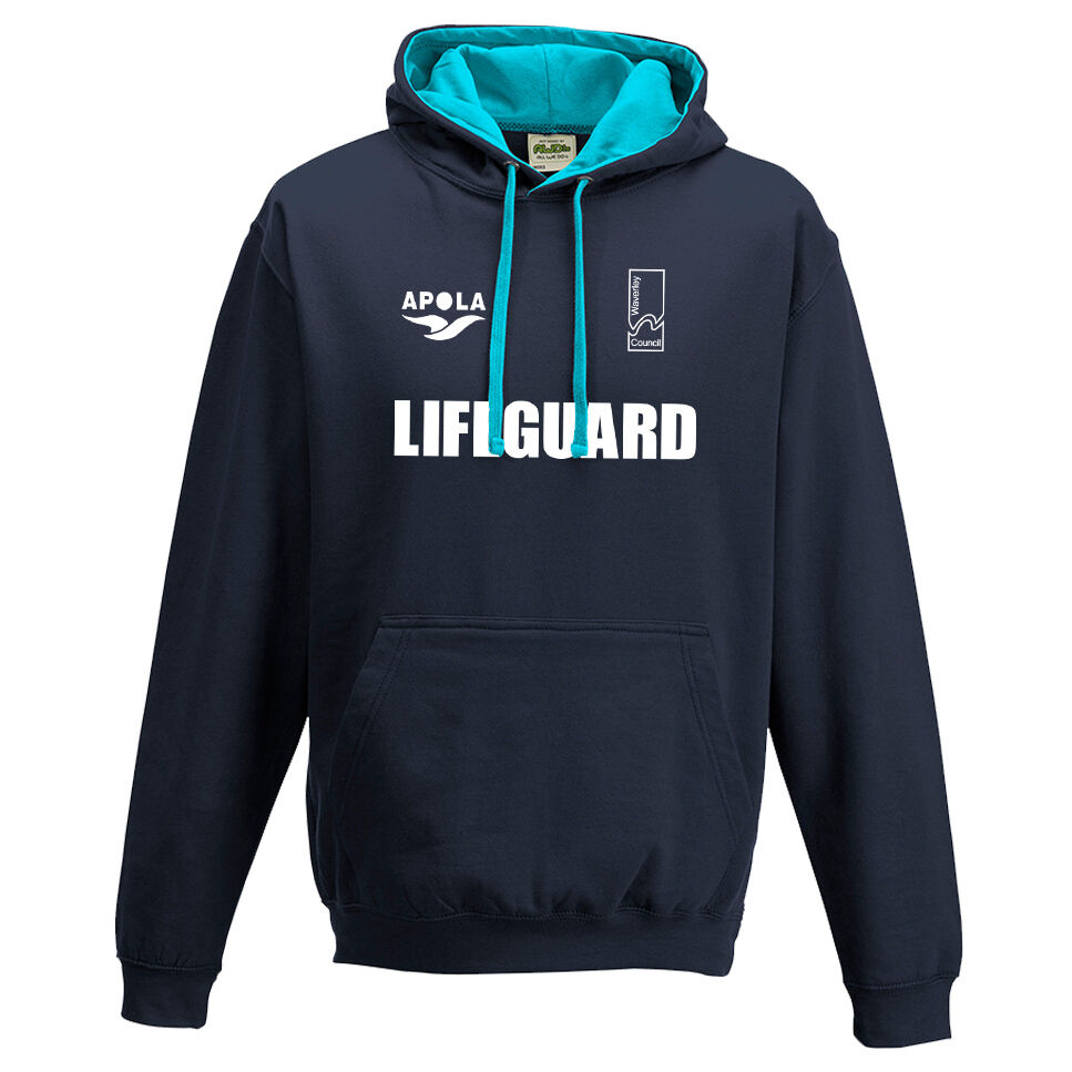 ADULT BONDI RESCUE LIFEGUARD CONTRAST NAVY HOODIE + LIFEGUARD BACK PRINT | eBay