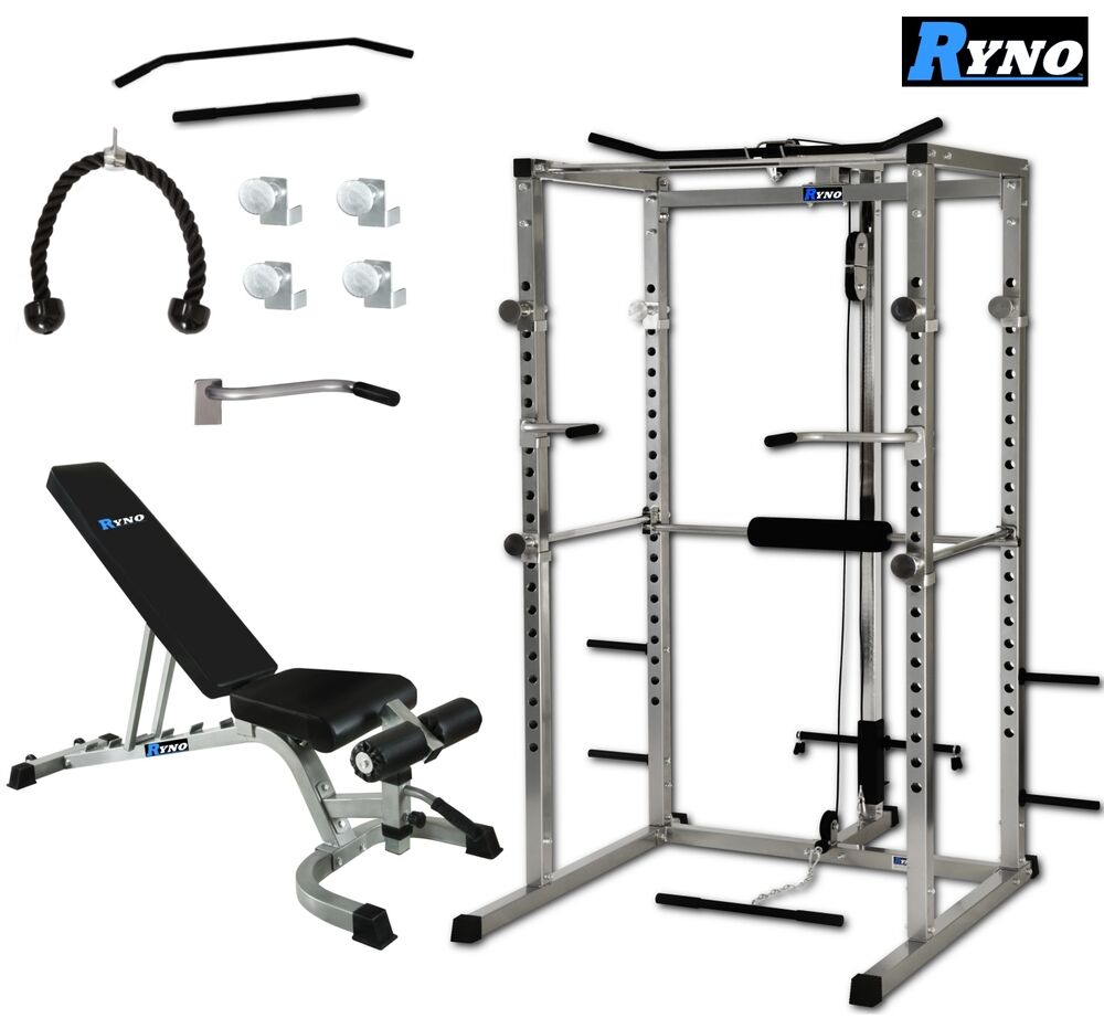 ryno power rack squat cage weight bench combo package machine pull up multi gym ebay. Black Bedroom Furniture Sets. Home Design Ideas