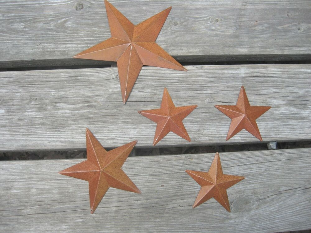 Set of 5 primitive rusty tin barn stars for home decor 8 for Star decorations for home