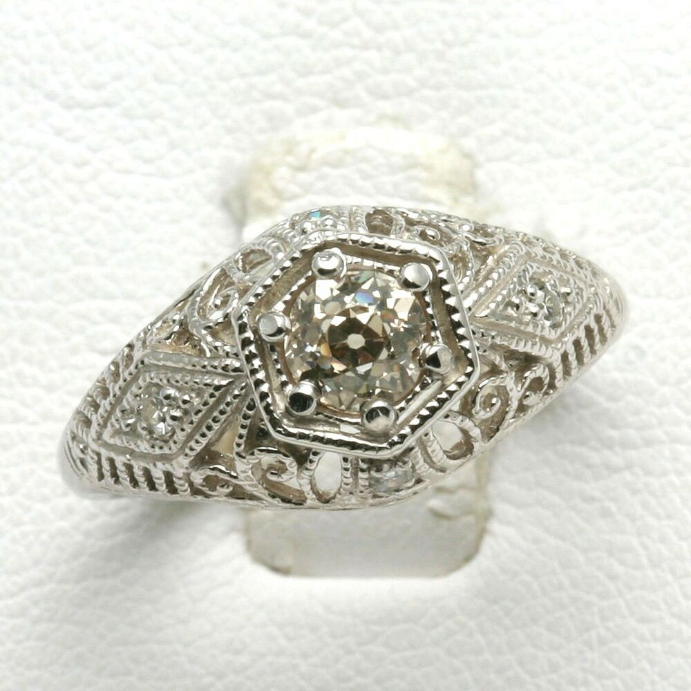 Estate 14k white gold Miners Cut Diamond Filigree ...