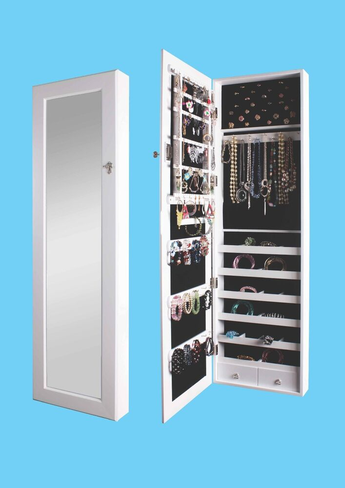 Decorative Wall Mirror Jewelry Organizer : Mirrored jewelry armoire cabinet storage wall mount hang