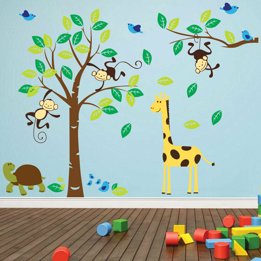 monkey tree birds animal nursery jungle children art wall stickers wall decals ebay. Black Bedroom Furniture Sets. Home Design Ideas