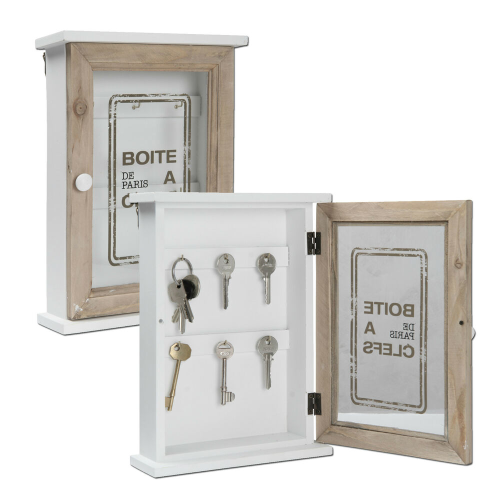 Wooden Key Cabinet Glass Door Storage Box Accessory Hooks Wall Mounted Hanger Ebay