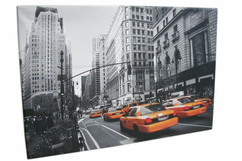 leinwandbild new york skyline 60x40cm bilder grau orange schwarz wei keilrahmen ebay. Black Bedroom Furniture Sets. Home Design Ideas
