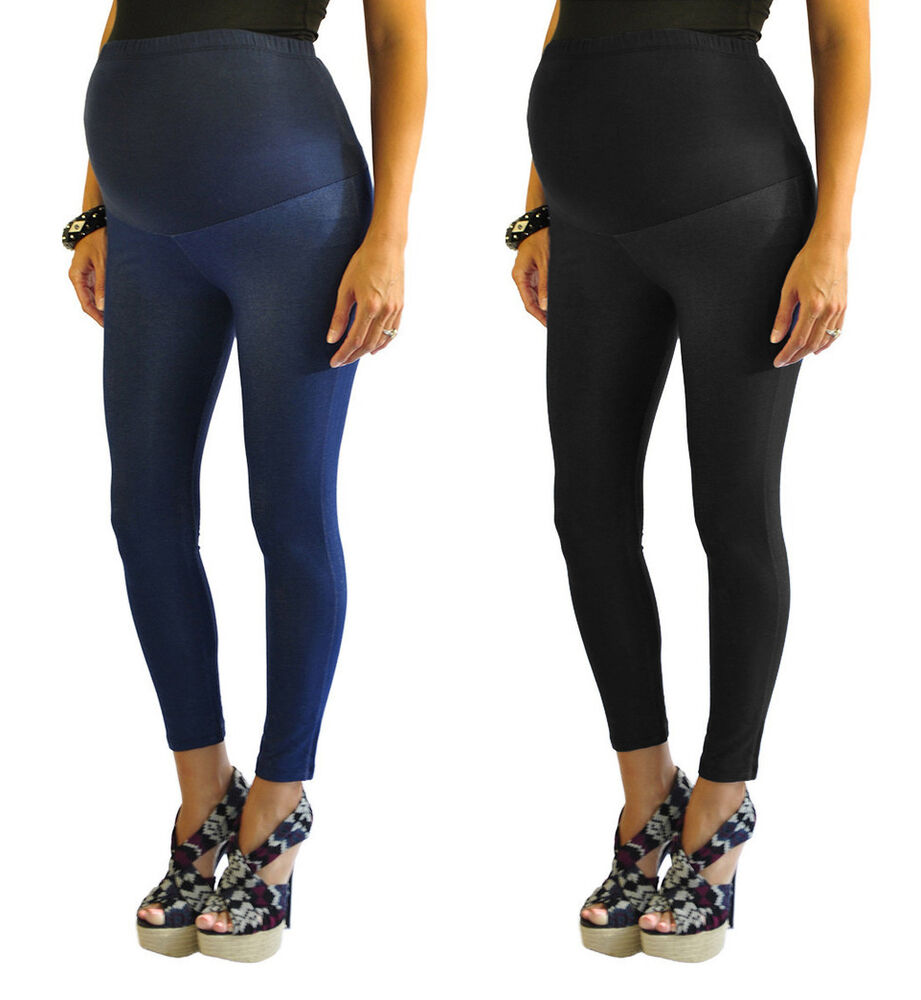 Over-the-bump leggings and leggings with a belly panel offer extra coverage, support, and warmth. Some women find they stay up better than under-the-belly versions, too.