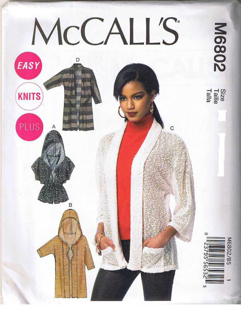 Easy Stretch Knit Cardigan Sweater Hood Mccalls Sewing Pattern Plus