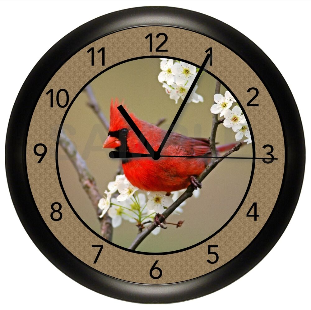 Beautiful Red Male Cardinal Wall Clock Kitchen Decor Gift