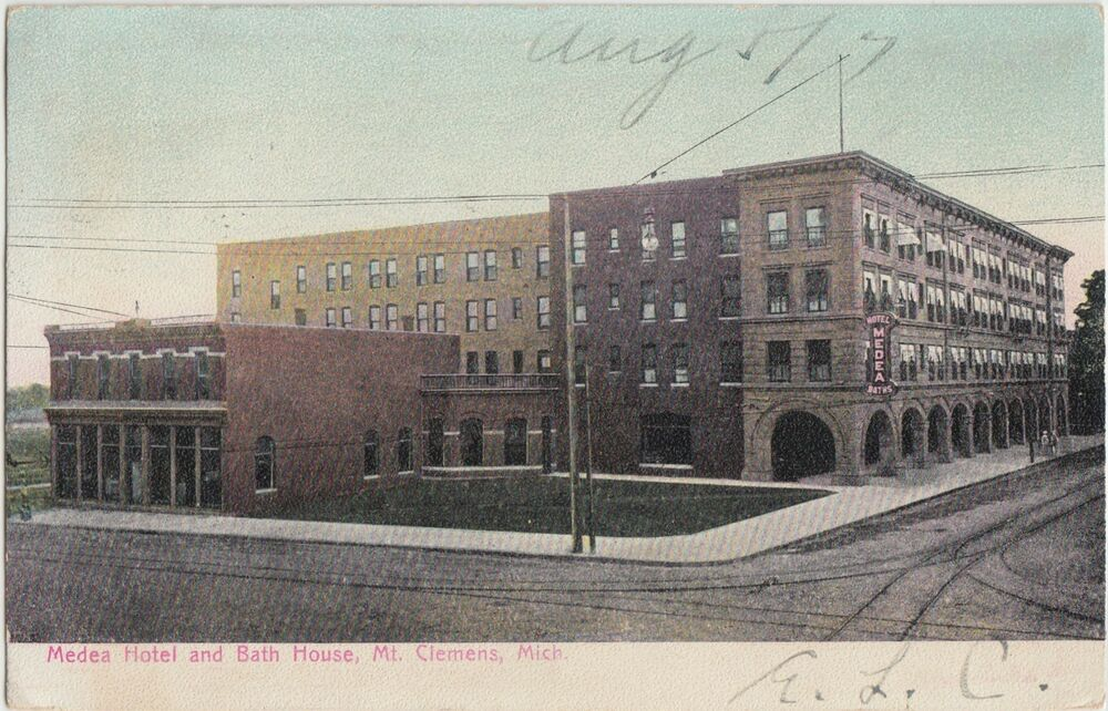 1907 mt clemens michigan mich postcard medea hotel bath for Bath house michigan