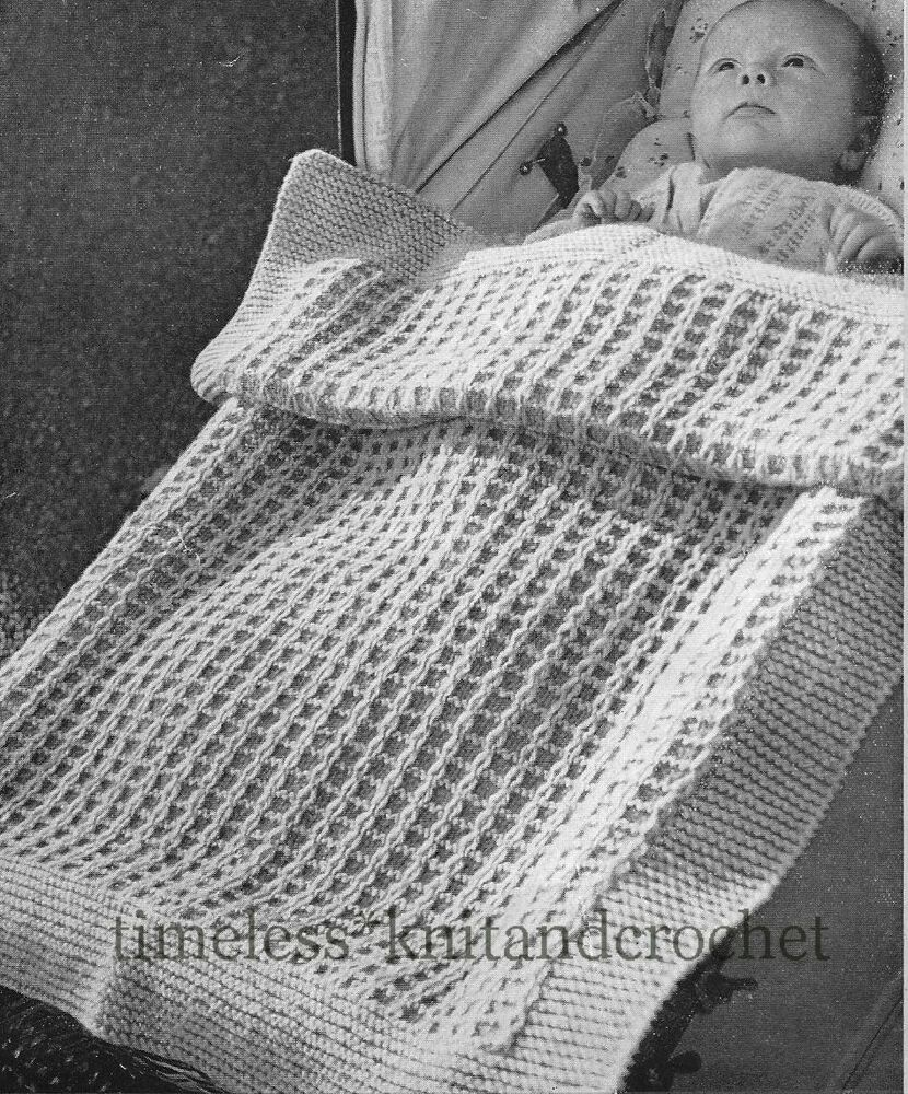 Free Vintage Knitting Patterns For Baby Blankets : VINTAGE 1950s KNITTING PATTERN FOR BABY / BABIES PRAM BLANKET / COT COVER eBay