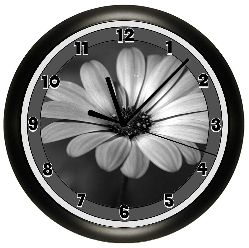 Daisy Wall Clock Gift Black And White Flower Pretty Decor