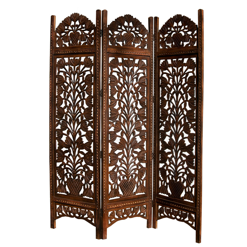 Hand carved topiary mango wood room divider three panel